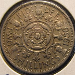 1956 Great Britain Florin,  Two Shillings Almost Perfect photo