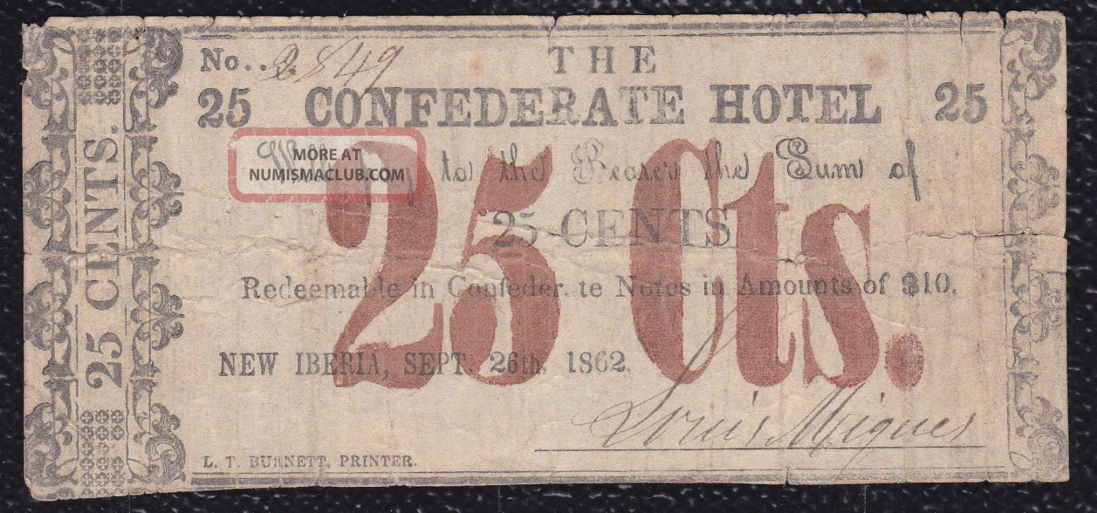 25 Cents The Confederate Hotel,  Iberia,  September 1862 Paper Money: US photo