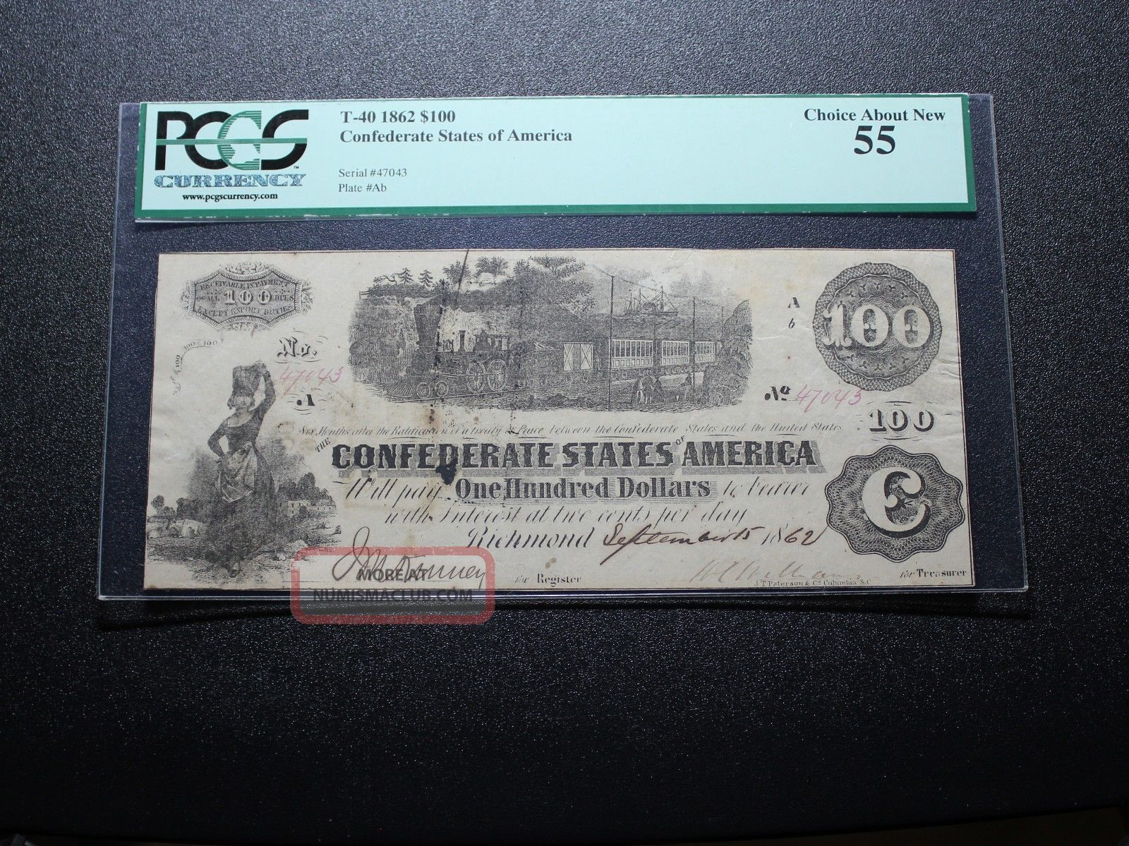 1862 $100 Confederate Currency T - 40 Pcgs 55 Paper Money: US photo