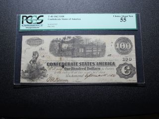 1862 $100 Confederate Currency T - 40 Pcgs 55 photo