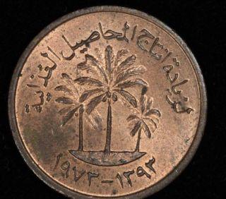 United Arab Emirates Uae 1 Fils,  1973 (ah 1373),  Fao,  Palm Tree,  Km 1,  Rb Unc photo