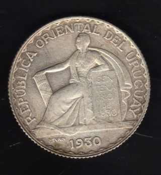 Uruguay 20 Centesimos 1930,  Silver Very photo