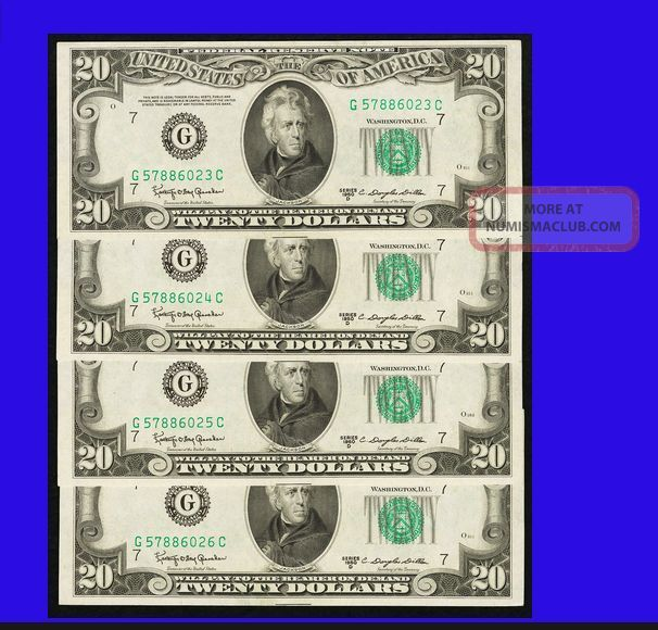 4 In A Row Chicago L@@k Fr 2063 - G $20 1950d Federal Four Consecutive Gem Cu Small Size Notes photo
