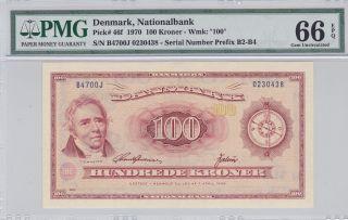 Denmark 1970 100 Kroner P46f Pmg 66 Epq Finest Known Nr photo