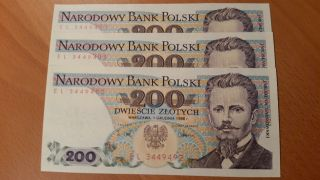 Poland,  3 X 200 Zlotych 1988 Unc Ser El photo