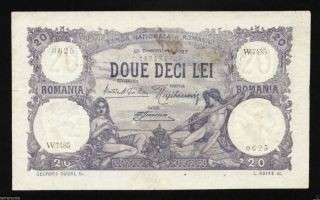 V131 Romania 20 Lei 1927 December Banknote P 20 Vf photo