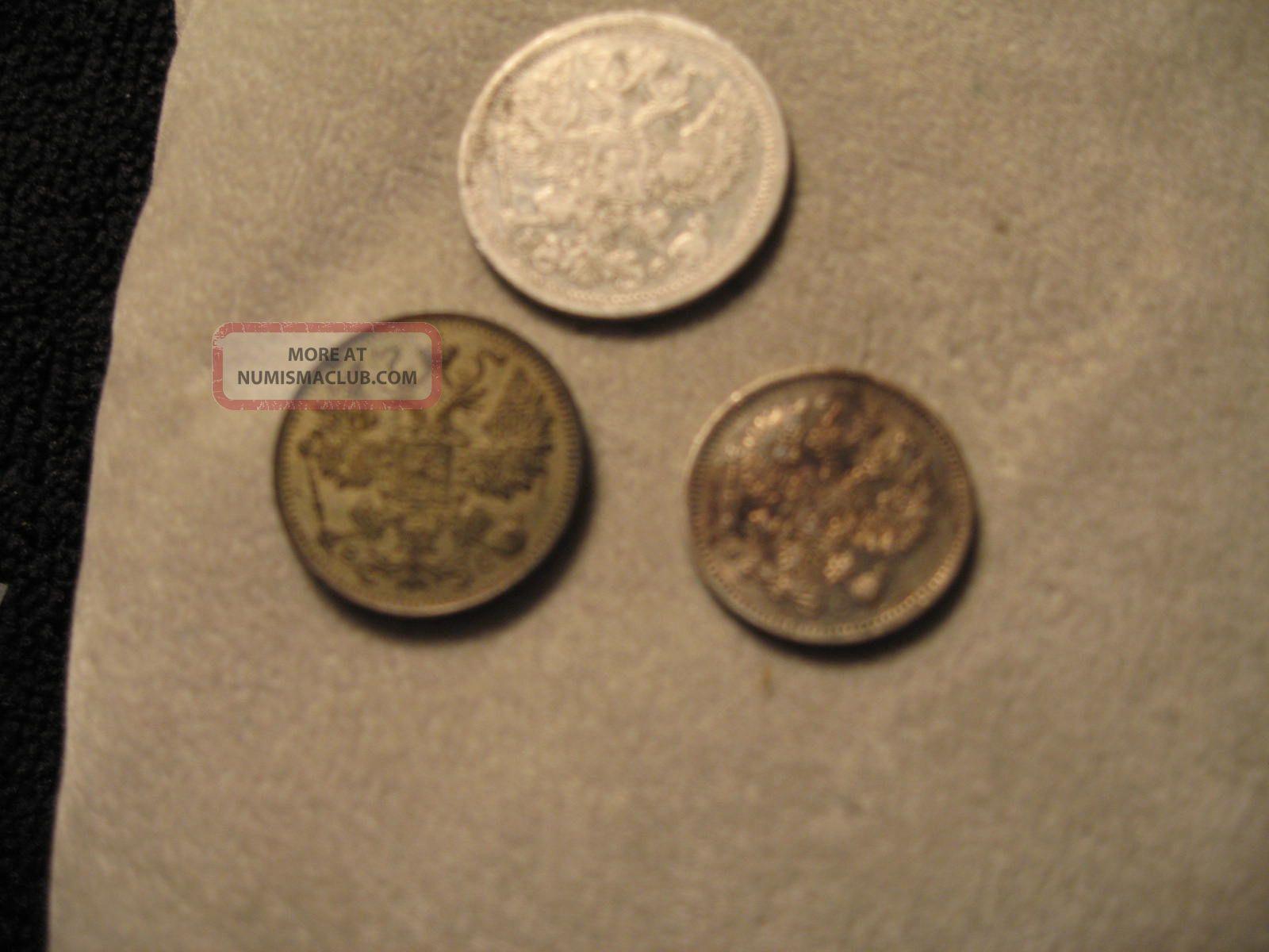 Russian Empire Silver Coin 15 Kopek1916,  20 Kopek1879,  10 Kopek 1913 Nicolas Ll Russia photo