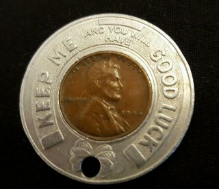 1946 Wheat Penny Encased Good Luck Token - Rare Ohler Studebaker Sales Wash C H photo