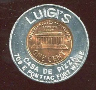 Luigi ' S Casa De Pizza Ft.  Wayne,  In 1959 Encased Cent Lucky Penny (fankhauser) photo
