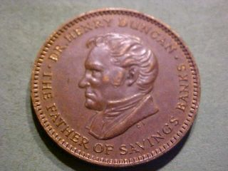 1960 British Bank Token Dr.  Henry Duncan 1774 - 1846 Trustee Savings Bank Week photo