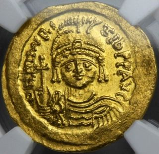 Gold Solidus Ad582 - 602 Byzantine Maur.  Tiberius Eye Appeal Uncirculated Ngc photo