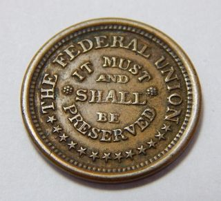 1863 (no Date) Civil War Patriotic Token - Army & Navy - The Federal Union photo