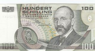 Austria 100 Schilling Banknote 2.  1.  1984 (p150) photo