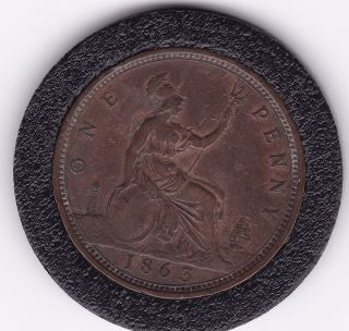 1863 Queen Victoria Large One Penny (1d) Bronze Coin photo