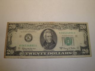 (1) $20.  00 Series 1963 A Federal Reserve Note.  Vf Circulated. photo