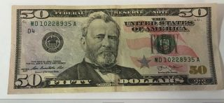 Fifty 50 Dollar Bill Us Paper Money $50 Federal Reserve Bank Note Circulated photo