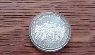 $20 Liberia Silver Coin Surrender At Appomattox Court House photo