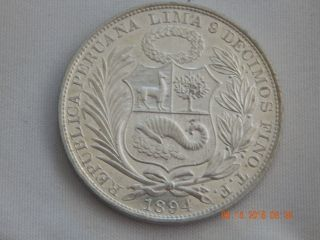 1894 - Tf Peru Un Sol - Choice Bu - Proof - Like Obverse Background photo