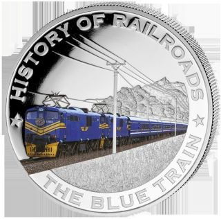 Liberia 2011 $5 History Of Railroads - The Blue Train Proof Silver Coin photo