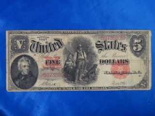 1907 $5 United States Large Note Red Seal photo