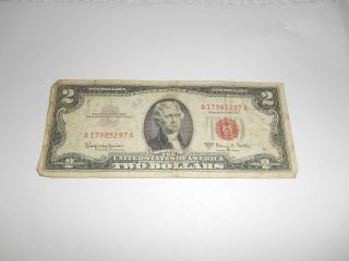 $2.  00 Federal Reserve Note,  1953 A,  A 17985297 A,  Red Seal,  G photo