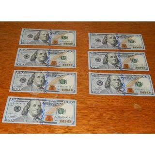 $100 Dollar Bills Seven (7) 2009 Unc Consecutive Serial No.  L12 Jl80062834b - 840b photo