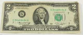 1976 $2 - Federal Reserve Note - - Neff Simon - Xf 75019 photo