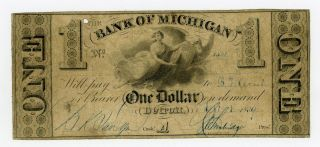 1839 $1 The Bank Of Michigan - Detroit,  Michigan Note photo