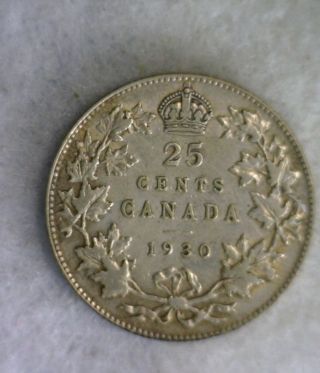 Canada 25 Cents 1930 Very Fine Silver Coin (stock 0046) photo