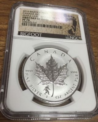 2016 Canada Silver Maple Leaf Bigfoot Privy Ngc Pf70 First Day Of Issue S$5 photo