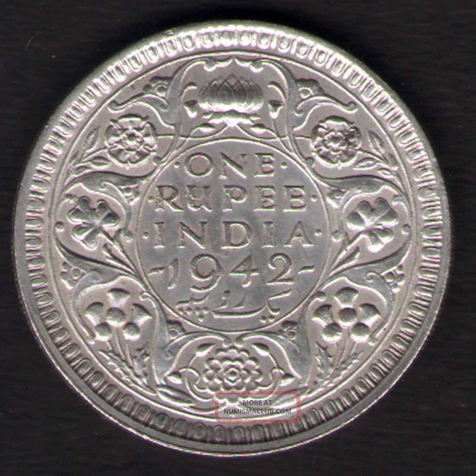 British India 1942 George Vi One Rupee Silver Coin Ex