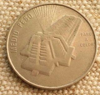 Moneta Coin Repubblica Dominicana 1/2 Medio Peso 1989 photo