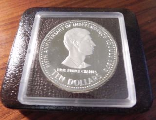 Bahamas 1978 Prince Charles 10 Dollars Silver Coin,  Proof photo
