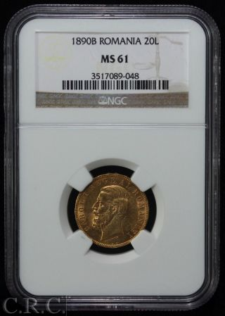 1890 - B Romania Gold 20 Lei Ngc Ms61 photo