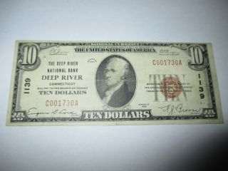 $10 1929 Deep River Connecticut Ct National Currency Bank Note Bill Ch 1139 Vf photo