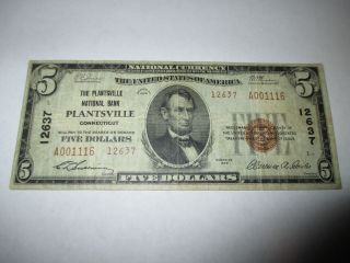$5 1929 Plantsville Connecticut Ct National Currency Bank Note Bill Vf 12637 photo