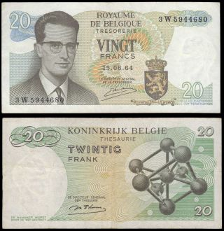 Belgium 20 Francs 1964 King Baudouin Vf,  Paper Money P - 138 photo