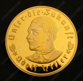 Nazi Leader Adolf Hitler 24k Gold Plated Commemorative Coin Token photo