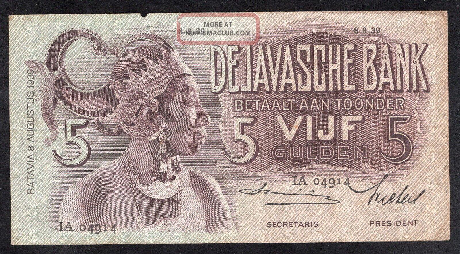 Netherlands Indies 5 Gulden De Javasche Bank (p78) Sn/ Ia04914