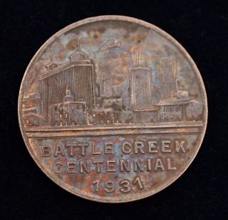 Vintage Battle Creek Centennial Token,  1831 - 1931,  Michigan,  Collectible photo