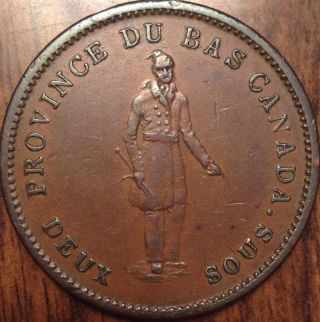 1837 Br.  521 Lower Canada One Penny Bank Token Best Of Circ. photo