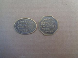 2 Drink Coca Cola Token/coin 1915 - 1916 Bottle Army Navy L A Stamp photo
