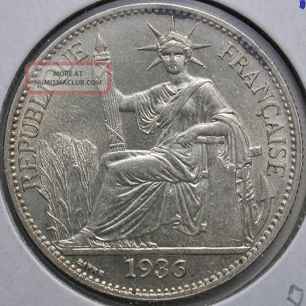 1936 French Indo - China 50 Cent.  Coin: Km 4a.  2,  Bu France photo