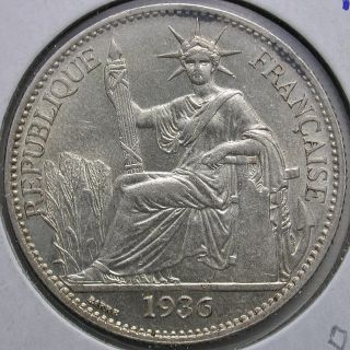 1936 French Indo - China 50 Cent.  Coin: Km 4a.  2,  Bu photo
