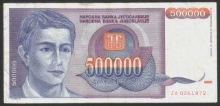 Yugoslavia 500 000 Dinara 1993.  P - 119z,  Replacement Note,  Vf, photo