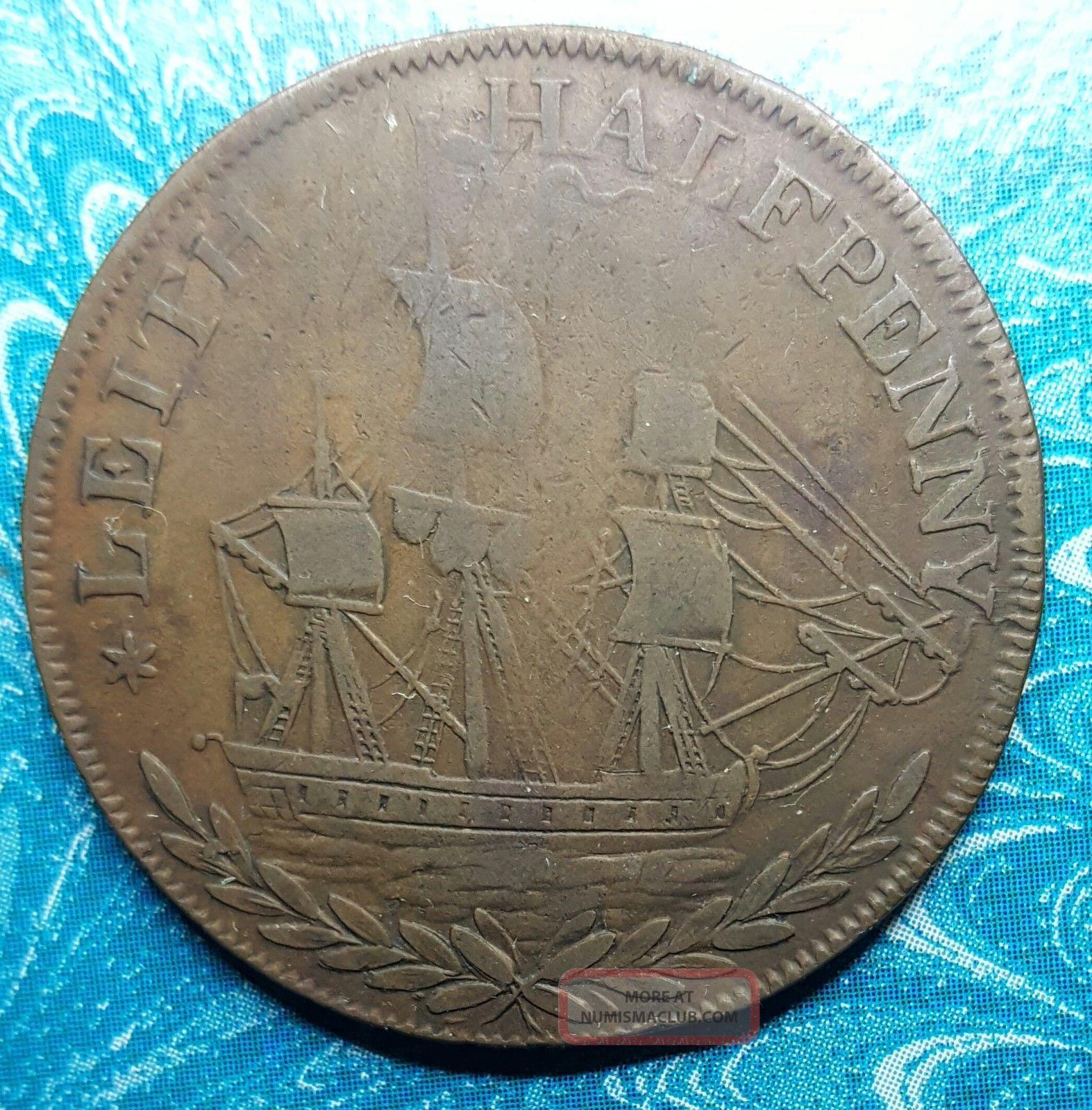 1797 Scotland Lothian Leith Half Penny Conder Token D&h 61 UK (Great Britain) photo