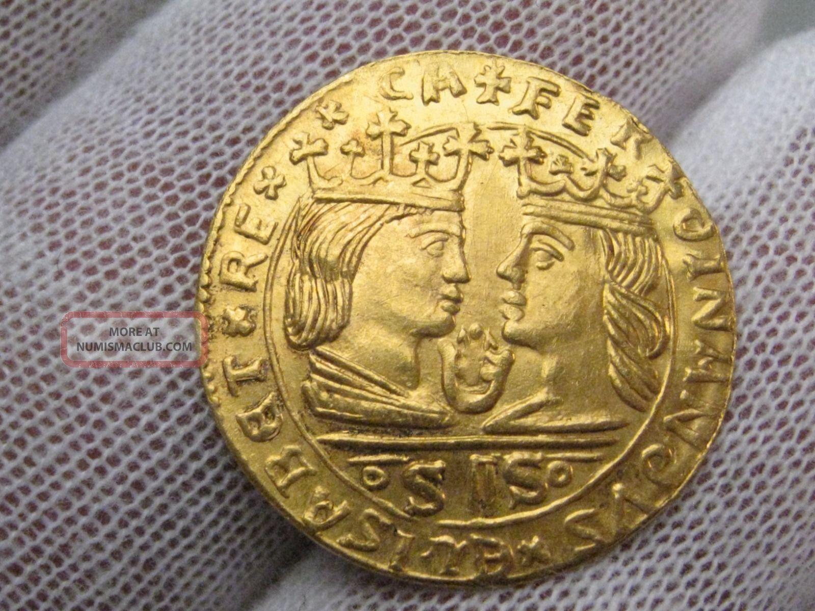 1479 - 1504 (re - Strike) 22k Gold Ducat.  Vanecia,  Spain.  Fr.  82.  3.  3g,  23mm. Europe photo