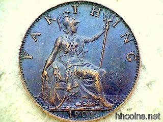 Great Britain Queen Victoria 1901 Farthing,  Bronze,  Xf photo