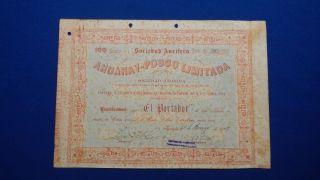 Sociedad Aurifera Andaray - Posco Limitada S.  A,  100 Actions,  Iquique - Chile.  1909. photo