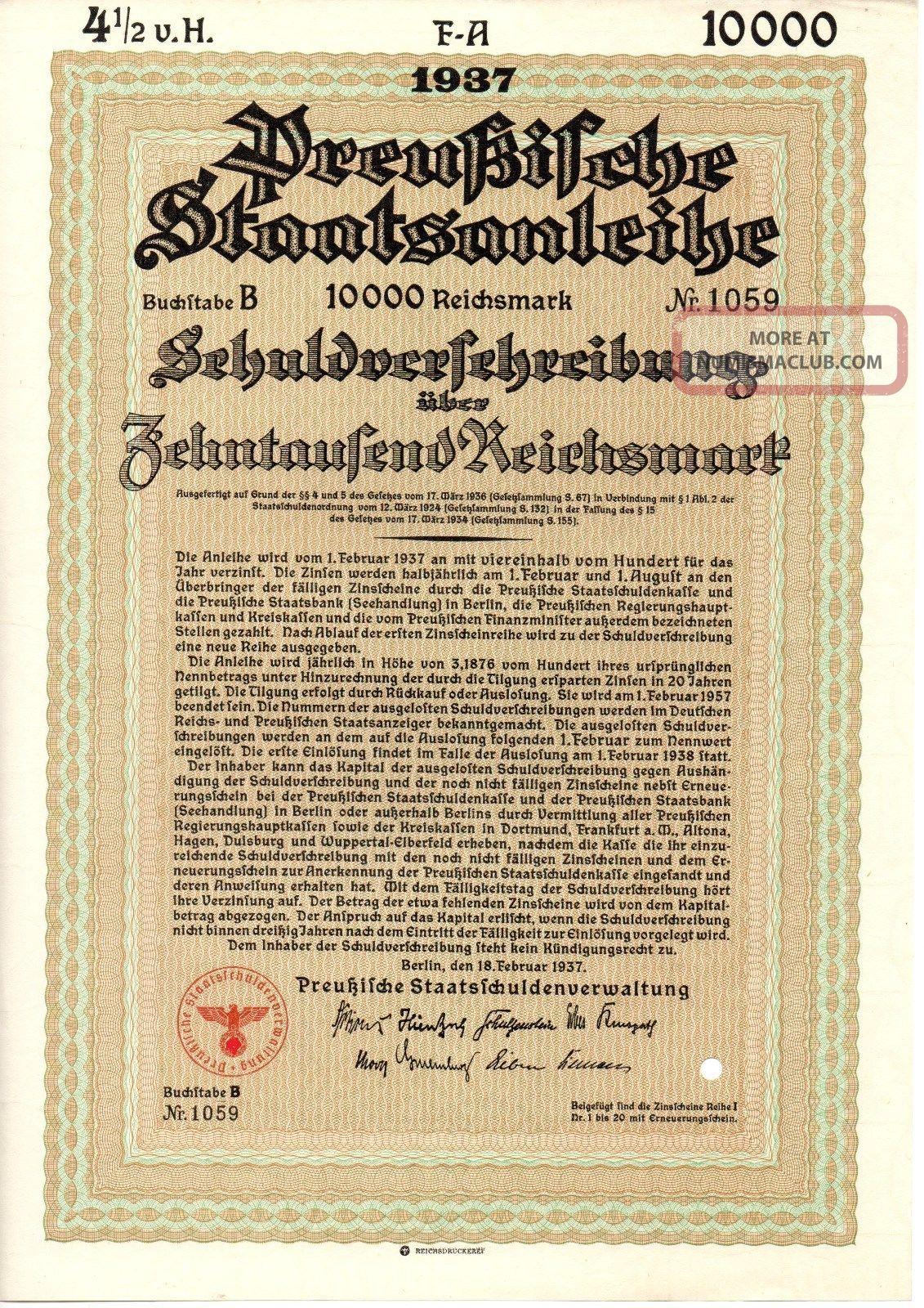 Prussia,  4,  5 State Bond,  10 000 Reihsmark 18 February 1937 World photo